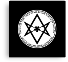 Aleister Crowley - DO WHAT THOU WILT SHALL BE THE WHOLE OF THE LAW - Occult - Thelema (White On Black) Canvas Print