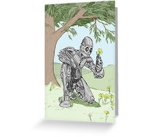 Robot smelling the flowers Greeting Card