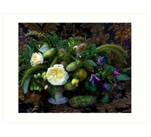 Still life with flowers and vegetables Art Print