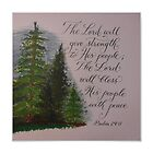 Scripture Psalm 29 painting calligraphy art by Melissa Goza