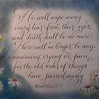 Scripture Revelations 21:4 calligraphy art by Melissa Goza