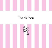 Pink Candy Stripes Thank You by Mariana Musa