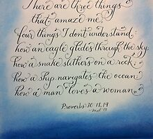 Scripture Proverbs 30 calligraphy art by Melissa Goza