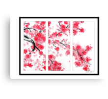 Cherry Blossom Tryptich Canvas Print