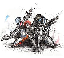 Shepard, Garrus and Liara trio sumi and watercolor style by Mycks