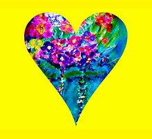 Yellow Floral Heart Designer Art Gifts by innocentorigina