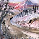 PINK MOUNTAINS AND AN ICY ROAD by francelle  huffman