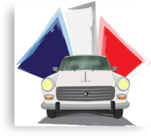 Illustration of a White Peugeot 404 with the French Flag Behind Canvas Print