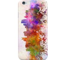 Pittsburgh skyline in watercolor background iPhone Case/Skin