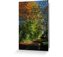 Autumn, a lane in West Burton. Greeting Card
