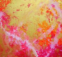 Raise Your Hearts abstract love pink gold by 7RayedDesigns