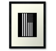 American Flag, Stars & Stripes, BLACK, PORTRAIT, USA Framed Print