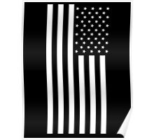 American Flag, In Mourning, America, Americana, Stars & Stripes, White on Black, PORTRAIT, USA Poster