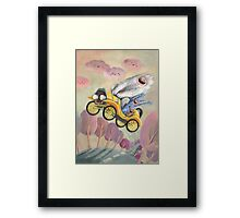 Cute Monster Vintage Race Car Framed Print