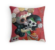 Mexican Skeletons Mother and Daughter Throw Pillow