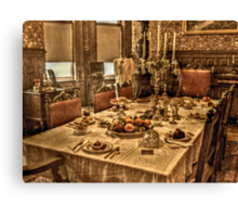 Holiday Dinner Table, Sharing the Holidays with Family Canvas Print