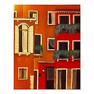 Orange and red rustic buildings 11x14 print by Melissa Goza