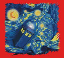 Space and time traveller phone box Starry the night Cartoons Kids Clothes