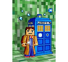 8bit blue phone box with space and time traveller Photographic Print