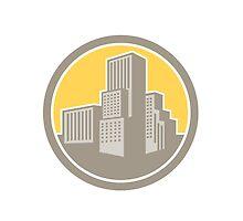 Urban Skyscraper Buildings Circle Retro by patrimonio