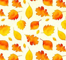 Yellow Autumn Leaves Watercolor by Pixelchicken