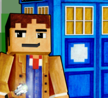 8bit blue phone box with space and time traveller Sticker