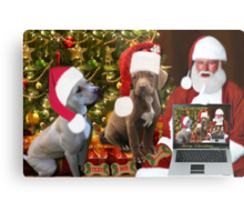 ☆ ★PRECIOUS MIRACLE ON PAWS- APBT- (DOGS) WITH SANTA -PICTURE/CARD HO HO HO RUFF RUFF-JUST FINISHED MAKING BARKING DOG VIDEO TO THE TUNE OF JINGLE BELLS ENJOY HUGS ☆ ★ Metal Print