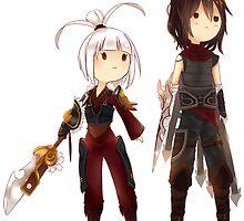 Chibi Couple Riven & Talon (League of Legends Fan Art) by arkaidyn