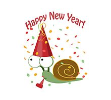 Happy New Year Snail Photographic Print