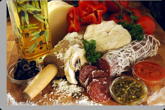 Pizza Ingredients by Karin  Hildebrand Lau