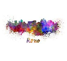 Reno skyline in watercolor Photographic Print