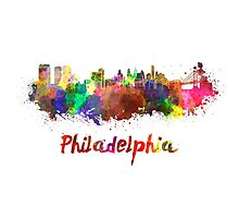 Philadelphia skyline in watercolor Photographic Print