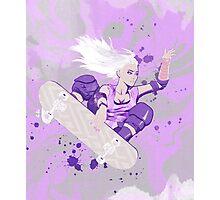 Skate Girl Purple Fly Photographic Print
