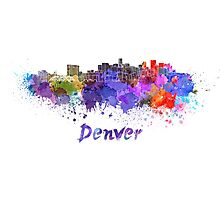 Denver skyline in watercolor Photographic Print