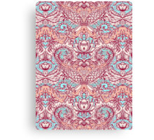 Natural Rhythm - a hand drawn pattern in peach, mint & aqua Canvas Print