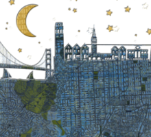 San Francisco skyline old map Sticker