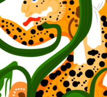Mayan jaguar playing with a waterlily Sticker