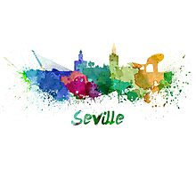 Seville skyline in watercolor Photographic Print