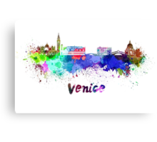 Venice skyline in watercolor Canvas Print