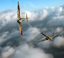 Battle of Britain Spitfire shoots down Messerschmitt Bf 109 by Gary Eason + Flight Artworks