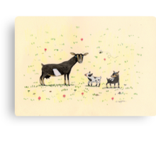 A Doe & Her Kids Metal Print