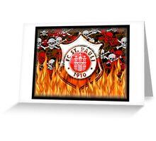 FC ST Pauli Flame and Skull Shield Design Greeting Card