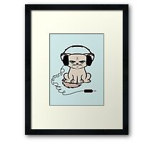 Grumpy Looking Cat With Headphones Framed Print