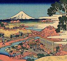 'The Tea Plantation' by Katsushika Hokusai (Reproduction) by Roz Abellera Art