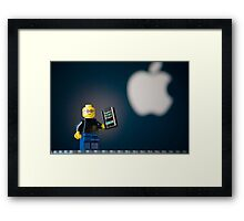 Steve Jobs and his iPhone Framed Print