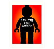 """Black Minifig with """"I am the Real Banksy"""" slogan by Customize My Minifig Art Print"""