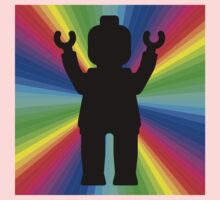 Black Minifig in front of Rainbow Kids Clothes