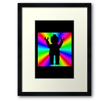 Black Minifig in front of Rainbow Framed Print