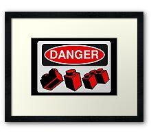 Danger Bricks Sign  Framed Print