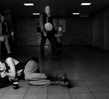 sleeping in a Subwaystation 2 by grayscaleberlin